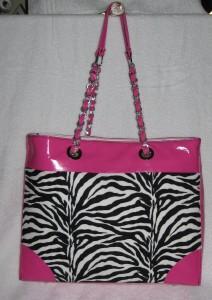 zebra & pink vinyl tote