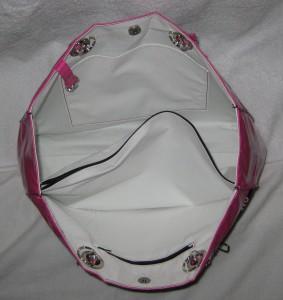 inside zebra & pink tote