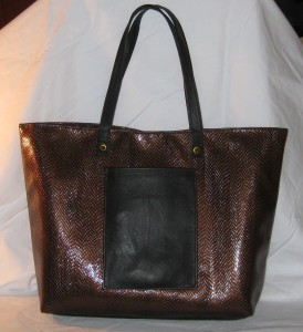 brown n black tote front