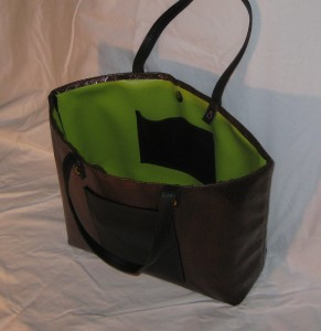 brown n black tote inside back