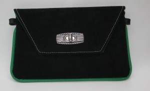 This was the first  prototype/re-work of my wristlet pattern.  I liked the contrast of the green with sharp black suede and white stitching (they were too crooked for me though!)